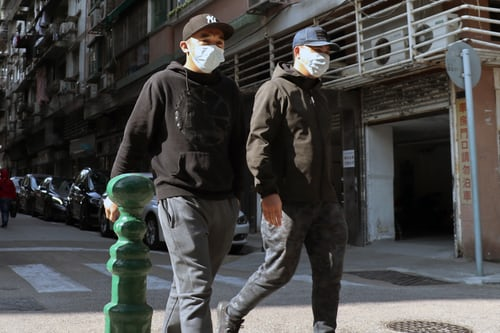 2 men with facemasks