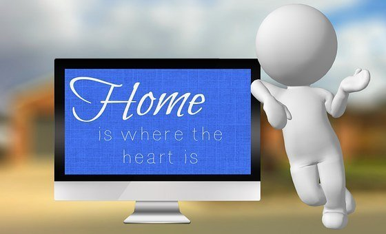 "monitor with ""home is where the heart is"" on it"