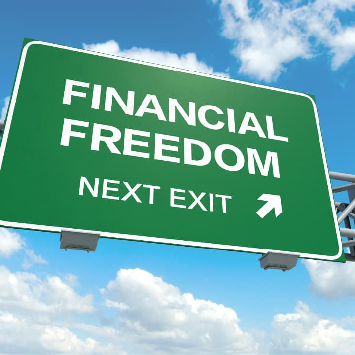 how to pay off debt fast- financial freedom sign